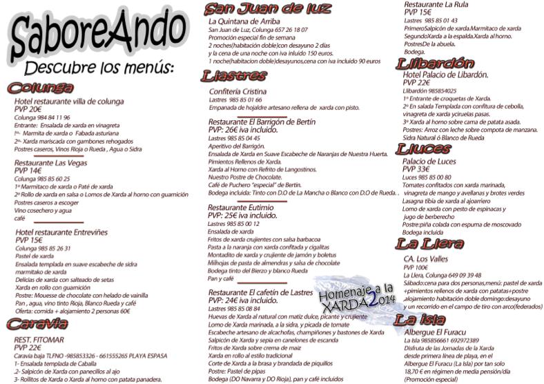 """Menús y ofertas """"Homenaje a la Xarda"""" 2014"""